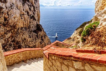 Mediterranean stair sailboat Sardinia