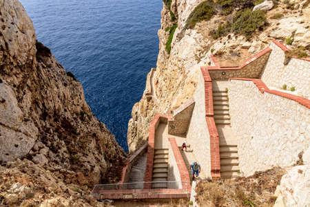 Stairs way Grotta di Nettuno rocks Sardinia