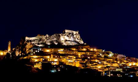 Town Castelsardo Mediterranean coast. Night. Sardinia