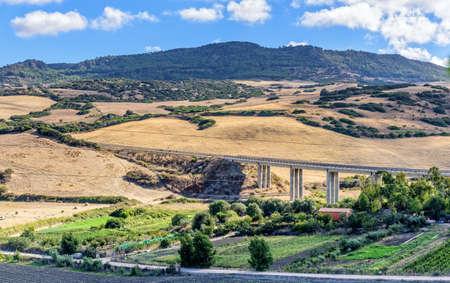 Bridge Mountains Field Meadow Sardinia Archivio Fotografico