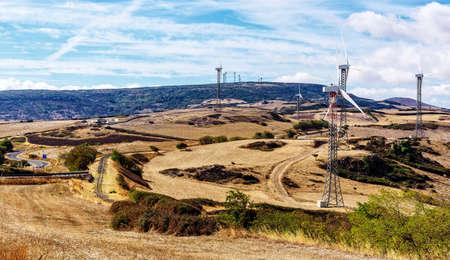 Windmill Wind energy field Mountains Sardinia Archivio Fotografico