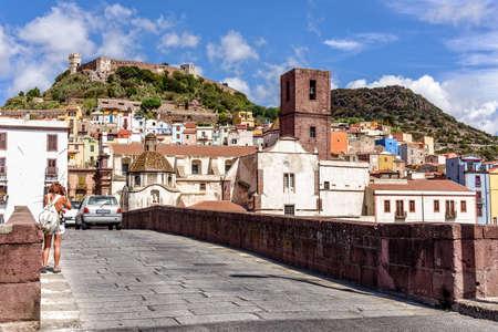 Old town Bosa city bridge Castello Malaspin Sardinia