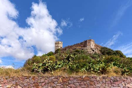 Castle ruin Castello Malaspin Bosa Cactus Sardinia
