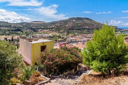 Stairs Bosa city mountains Sardinia