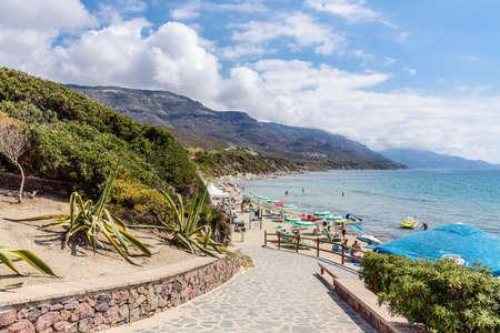 Beach path Mountains Mediterranean sardines