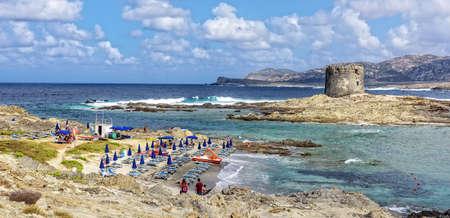 Parasol beach rocks stintino