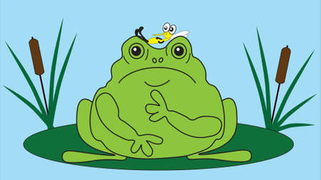 impudent: Impudent little mosquito sits on a frog.