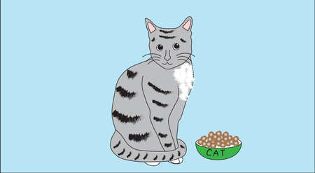 tabby: Domestic tabby cat sitting near his bowl on the blue background. Illustration