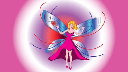 girl magic wand: Fairy beautiful girl fairy in a pink dress with a magic wand.