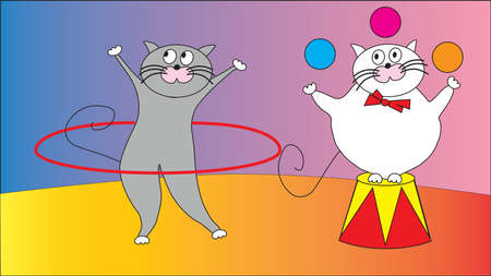 representation: Two funny cat suit representation in the circus.