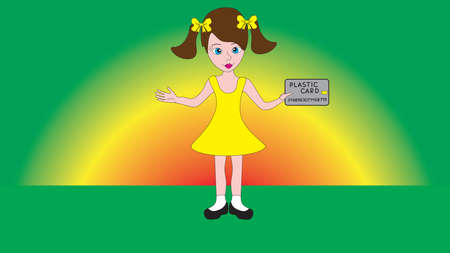 little one: Little cute pretty girl holding a money card isolated in a gradient background.