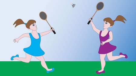 shuttlecock: Two girls compete in a sports game badminton.