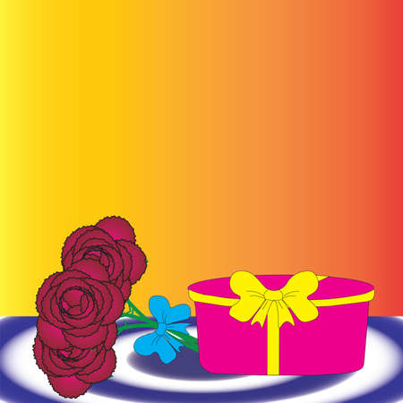 Gift set in the form of a casket and a bouquet of flowers.