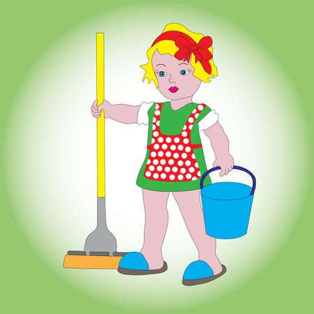 Een klein lief meisje met een emmer en een dweil om te reinigen. Een symbool van netheid, orde en schoonmaak.