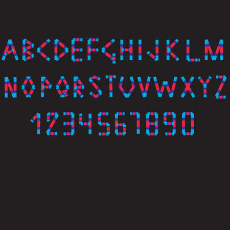 numbers: Letters of the English alphabet and numbers on a black background of own development. Illustration