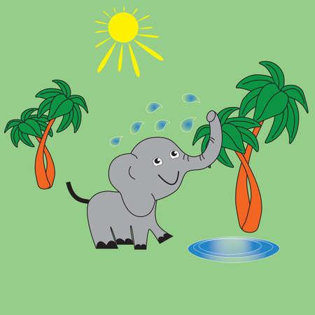 象は、夏の暑い晴れた日に水で自身をスポンジします。  イラスト・ベクター素材