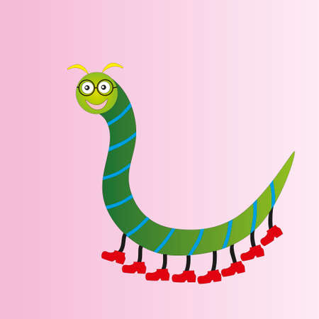 Funny centipede in glasses of green color isolated gradient background. Illustration