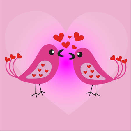 Two lovers happy birds sing a song about love.