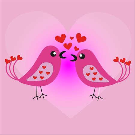 Twee geliefden vrolijke vogels zingen een lied over liefde.