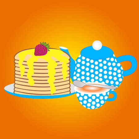 Teapot with a cup and sweet pancakes strawberries isolated orange background.