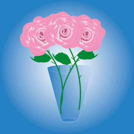 Bouquet of three beautiful delicate roses in a glass vase.