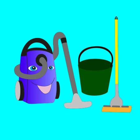 Aspirador, cubo y fregona aislados en la ilustración azul.