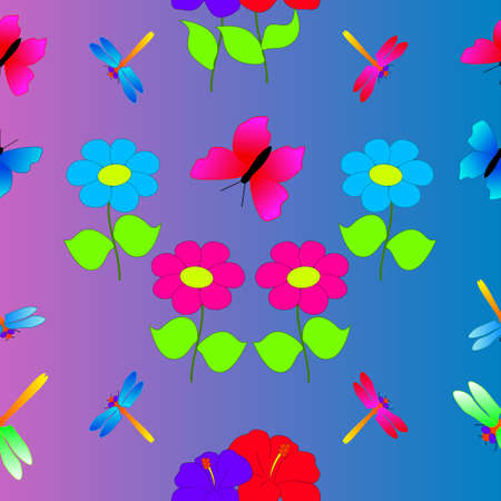 Summer nature texture consisting of flowers, dragonflies and butterflies pattern. Иллюстрация