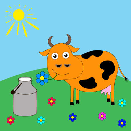 Good funny cartoon cow grazing in a meadow.