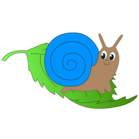 Cute funny cartoon snail sitting on green leaf isolated white background. Illustration