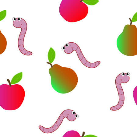Seamless texture for kids consists of cartoon of a worm in the fruit.
