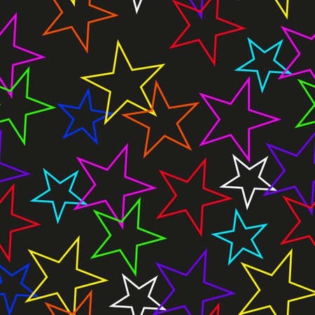 Abstract seamless texture of colored stars arranged in an arbitrary order .