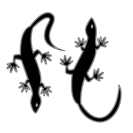 Two silhouettes in the form of lizards. Monochrome vector illustration. Tattoo.