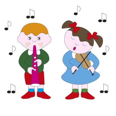 Boy and girl playing a melody with their musical instruments vector illustration