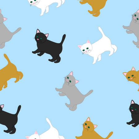 Cartoon funny cats of different colors. Vector seamless illustration for kids. Illustration