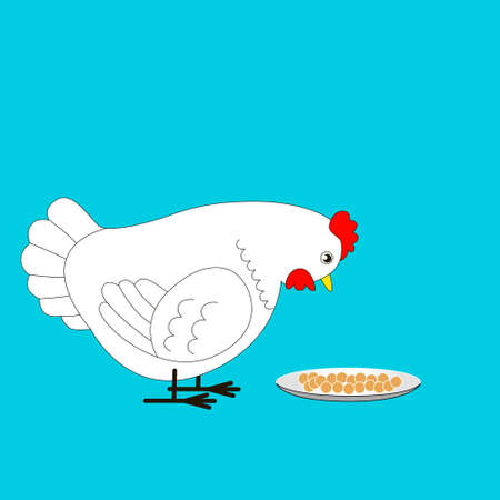 Cartoon white chicken is going to peck the grain. Vector illustration for children. Çizim