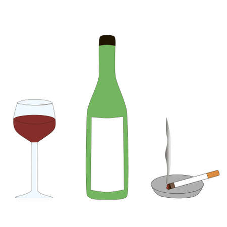 The symbols of a person's bad habits are alcohol and cigarette isolated by a white background.