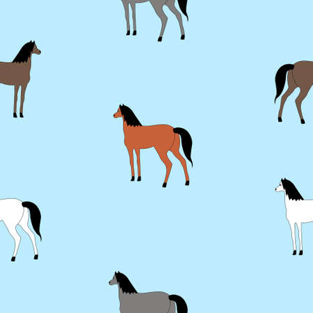 Seamless texture with horses of different colors.
