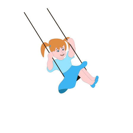 Cute little girl swinging on the swing isolated white background.