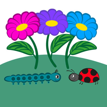 Cartoon caterpillar and ladybug crawling towards each other. Illustration