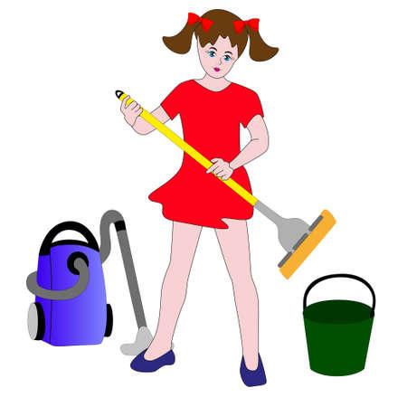 El entusiasmo de la niña va a realizar la limpieza en húmedo.