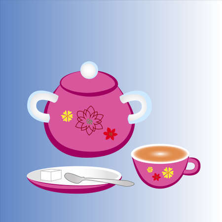Items for the upcoming tea party isolated gradient background.