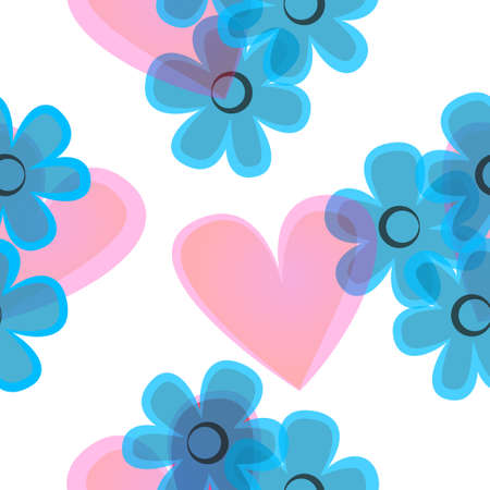 Seamless pattern with translucent hearts and blue flowers. Illusztráció