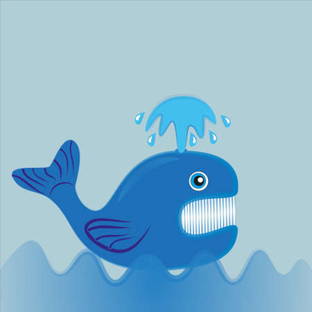 A blue whale with an open mouth floats in the ocean and spewing a fountain.