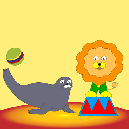 Funny seal playing with a ball and a lion sitting on a pedestal in the circus.