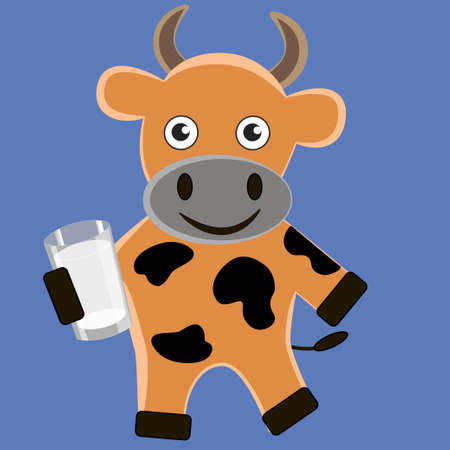Good cartoon cow with a glass of milk isolated blue background. Çizim