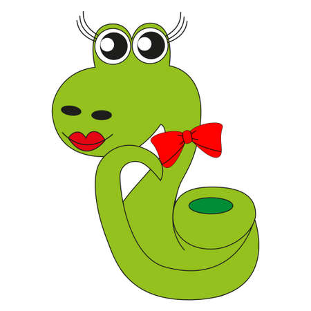 Cute cartoon snake green with painted lips and a red bow.