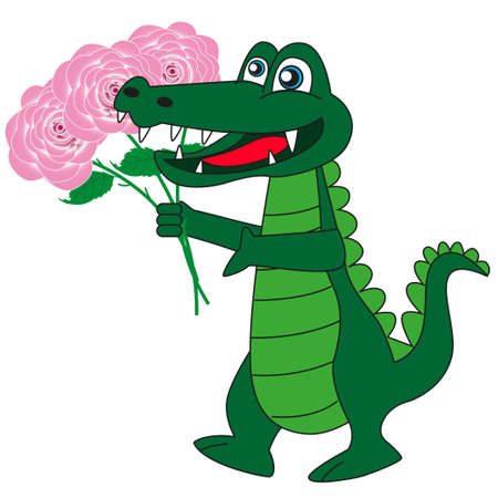 Good cartoon crocodile with a bouquet of beautiful flowers isolated white background.
