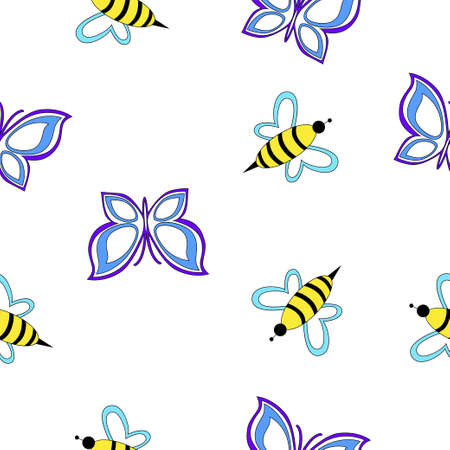 Seamless simple pattern with bees and butterflies isolated on a white background. Illustration
