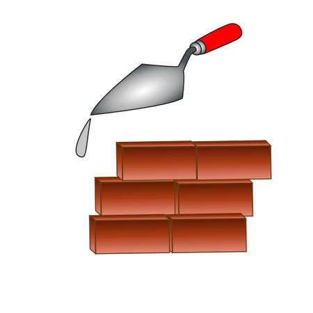 Un petit mur de briques rouges et Kelm avec les restes de mortier de ciment.