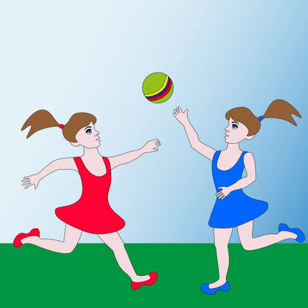Two girls having fun playing the game with the ball.